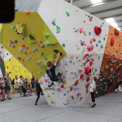 Cole climbing at SYBC 2018 at Rockstar, Swindon